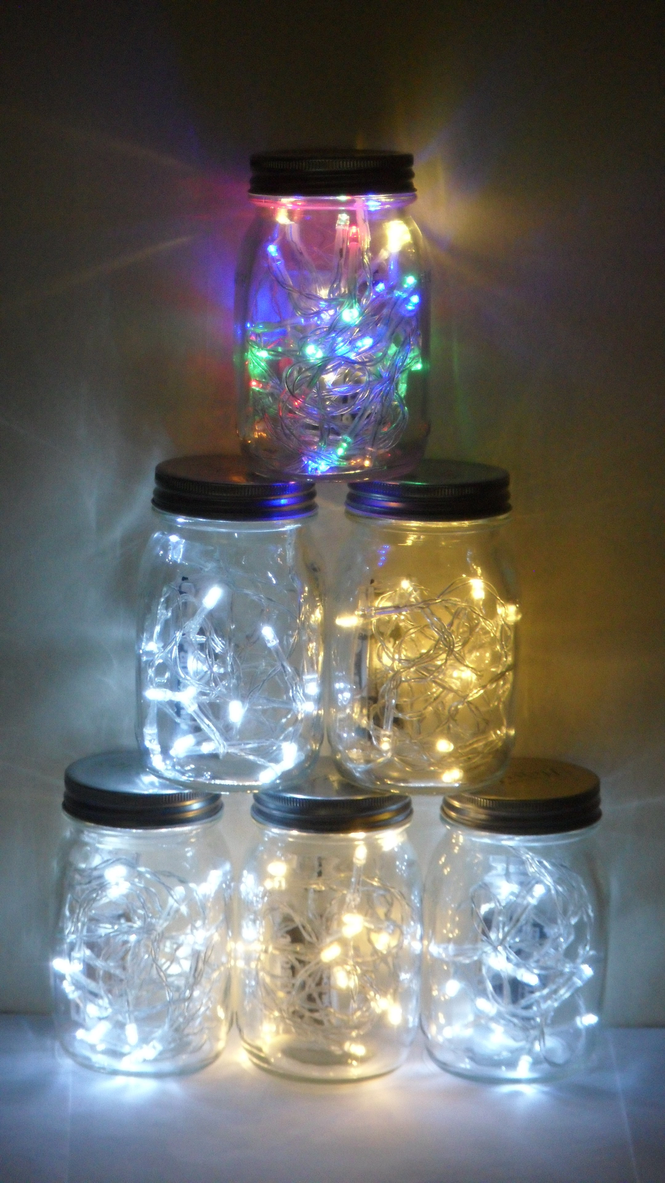 Christmas Tree Made With Led Lights In Jars