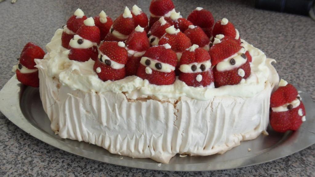 Strawberry Santa Christmas Pavlova